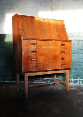Mid-Century Danish Style Teak Veneered Bureau & Drawers Vintage Retro Desk