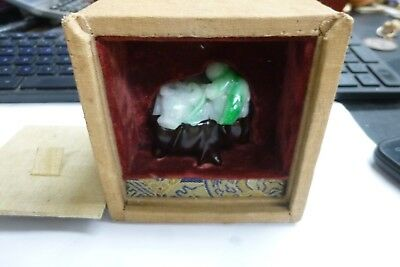 Chinese Vintage Antique White And Green Jade in Presentation Box (54 grams)