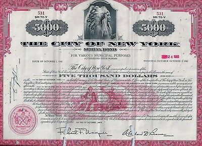 The City of New York, 1963, 3,4% Serial Bond due 1982 (5.000 $) Indianer-Vign.