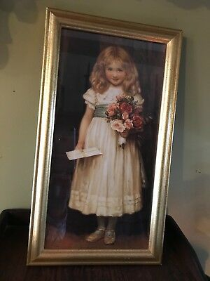 """Home Interiors """"The Love Letter"""" Picture of Girl with Letter and Flowers"""