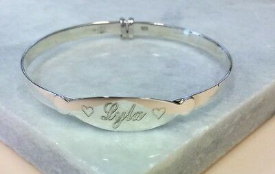 'lyla' Name Engraved Sterling Silver Christening Bangle