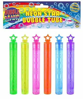 "4"" Neon Star Bubble Tube Wand Kids Childrens Loot Party Bag Filler Favours Toys"