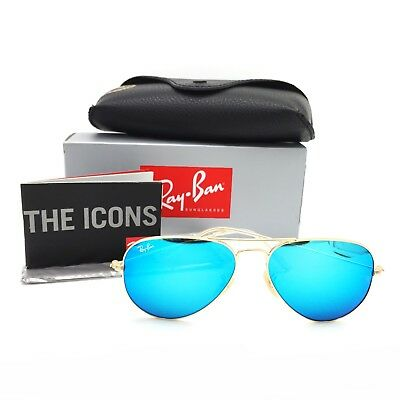 New Ray-Ban RB3025 112/17 Gold Aviator Sunglasses w/ Mirrored Blue Lenses 55mm
