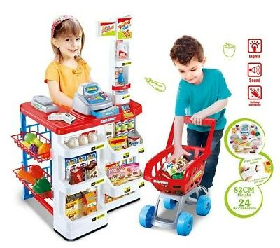 Kids Pretend Play SUPERMARKET PlaySet Toy Shopping Cart Cash Register Role Play