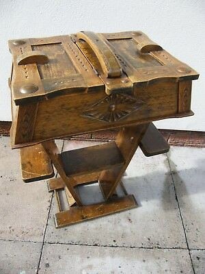 Antique Arts & Crafts Box On Stand Cabinet Teapoy Carved Oak & Copper Roundals