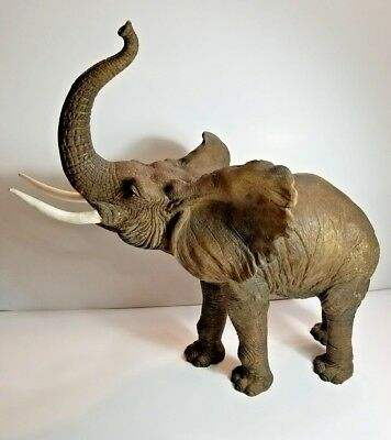 Large Gray African Elephant Figure Trunk Up Tusks Large Statue Detailed Figurine