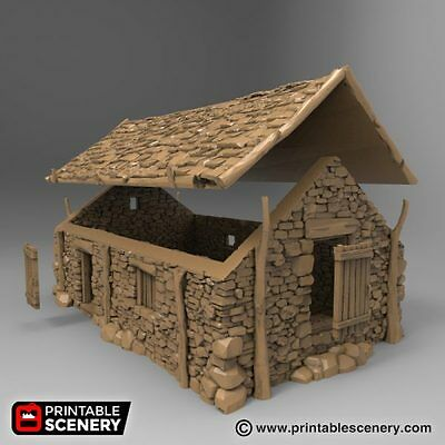 image about Printable Scenery named THE STONE BARN 28mm Tabletop Video games Printable Surroundings Dwarven Forge DD Terrain