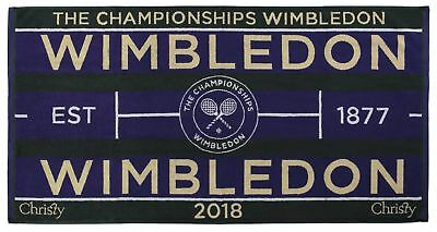 Wimbledon Mens 2018 Championship Towel by Christy 133 x 70cm Includes Carry Case
