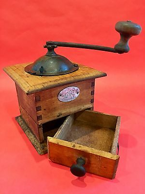 1880 Antique French Japy Freres Beaucourt Paris Wood + Metal Coffee Mill/Grinder
