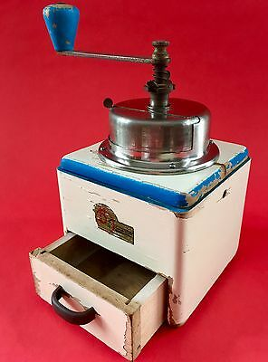 Vintage B. O. Garantie CZECHOSLOVAKIA European Wood+Painted Coffee Mill/Grinder