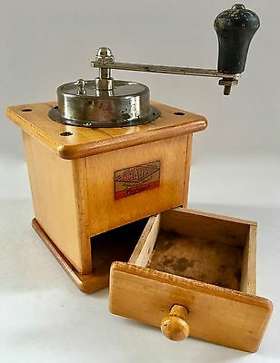 A++ Vintage European German HAHA August Harhaus Wood & Metal Coffee Mill/Grinder