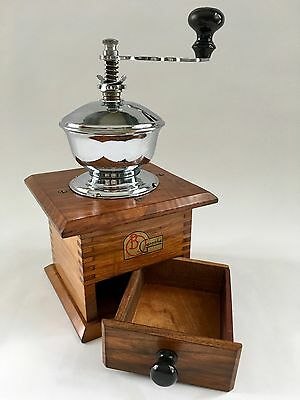 A+Vintage B. O. Garantie CZECHOSLOVAKIA European Wood+Chrome Coffee Mill/Grinder
