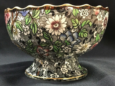 Antique England Celebrate Bird Pheasant Flower Chintz Porcelain Footed Compote