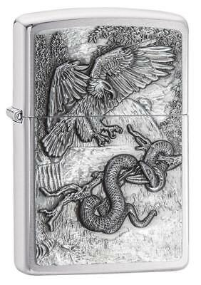 "Zippo ""Eagle Versus Snake"" Emblem Lighter, Brushed Chrome, Full Size, 29637"