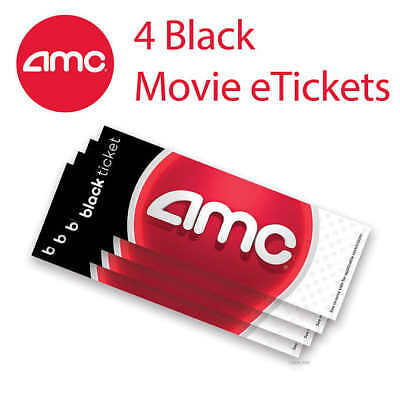 (4) Four AMC Black Movie E-Tickets and Four Large Fountain Drinks