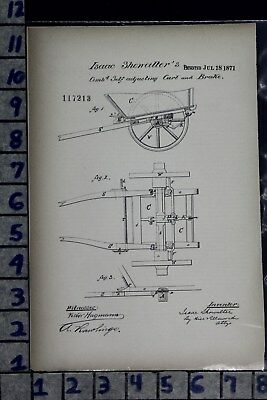 1871 Showalter Chester County Pa Wagon Cart Brake Farm Ag Patent Litho 117213