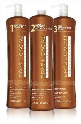 Cadiveu Brasil Cacau Thermal Reconstruction Straightening Kit 3 Bottles 33 fl.oz