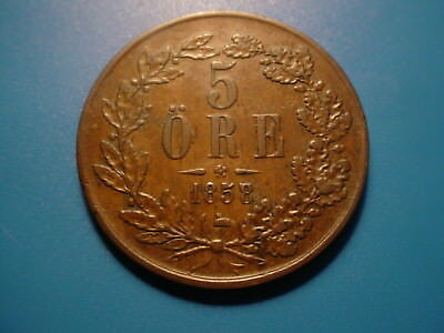 Sweden 1858 5-Ore In Excellent Condition