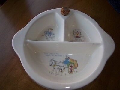 VINTAGE EXCELLO CERAMIC DIVIDED BABY FOOD WARMING DISH BOWL 3 LITTLE PIGS 1950s