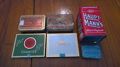 Vintage Tobacco Tin Lot Of 6 Lucky Strike Edgeworth Haupt-Manns Mercantile