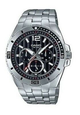 BRAND NEW MODEL Casio MTD1060D-1A2 Men's Stainless Steel Watch 100M BLACK Dial