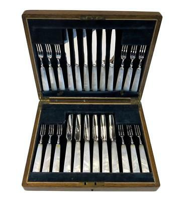 Sterling Silver Boxed Set 12 Knives & 12 Forks With Pearl Handles. Mappin & Webb