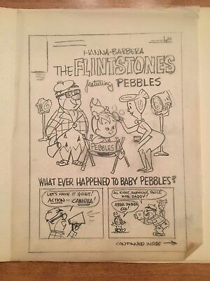 The FLINTSTONES: Original Comic Book Cover Art Drawing (Hanna-Barbera, 1963)