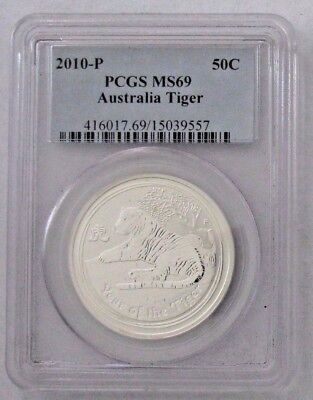 2010 Australia Year of the Tiger Silver 50c *PCGS MS69* 1/2 oz Silver  - No Res