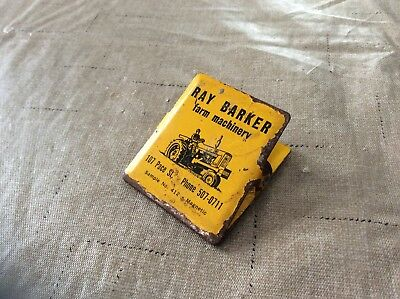 Vintage Ray Barker Advertising Metal Utility Paper Clip Farmall Tractor Magnetic