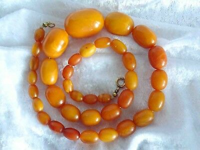 Antike Butterscotch Bernstein Kette, Oliven,  Amber Necklace, 39,5 g, Nachlass