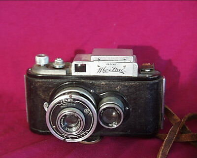 Pre-WWII Meikai No.1 Side By Side Twin Lens Reflex, Strap, Shade, Filter Holder