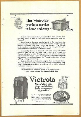 1918 Ad RCA Victor Victrola Priceless Service In Home Or Camp