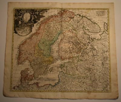 Norway Sweden Finland Baltic States Ingria Russia Orig. Engr. Map Homann 1740