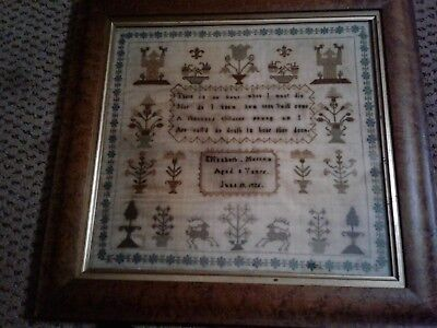 Early American Sampler, Trees Flowers - Made by 9 year old - dated June 18, 1826