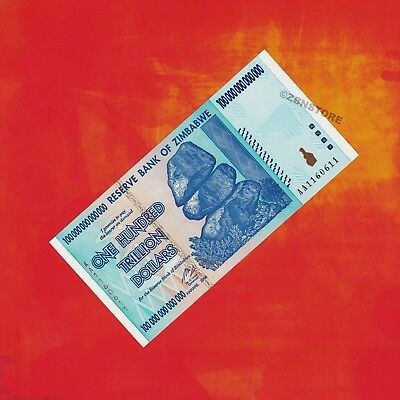 100 Trillion Dollars Zimbabwe Banknote Authentic 2008 Radar Serial AA1160611 UNC