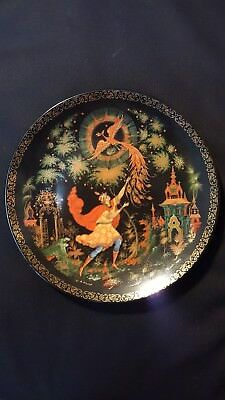"*/VINTAGE PORCELAIN DECORATIVE PLATE PALEKH ""FIREBIRD"" Imperial Lomonosov"