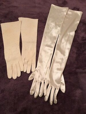 Vintage Gloves 2 Pair Above Elbow And Below Elbow Cream Color