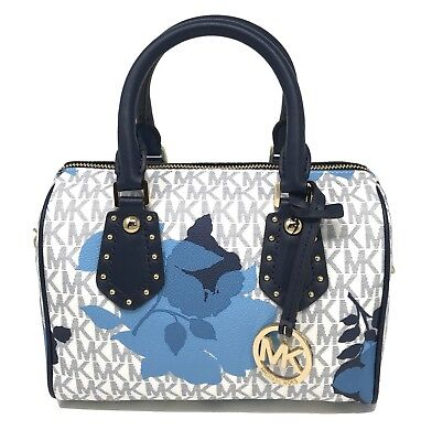 76536d8c3a28 Michael Kors Aria Small Top Zip Satchel Crossbody Vanilla MK Navy Floral  $328