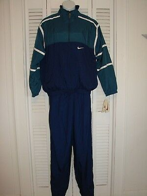 Vtg Nike Track Suit Mens Size Large Navy Green Retro Full Zip 2pc Set Pants