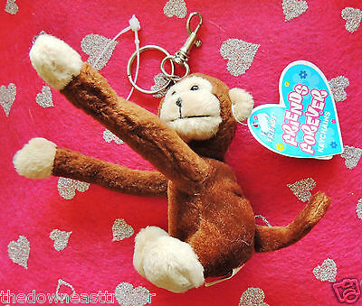 "Floppy Friends Key Chain Monkey Friends Forever 3.5"" x 4"" c2002 Brown Polyester"