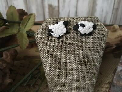 Blossom Bucket~ Curly SHEEP Polymer Clay Stud Earrings NWOT!