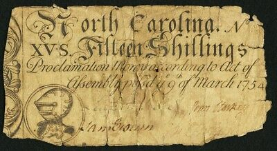 1754 Fifteen Shillings (15s) North Carolina Colonial Currency, March 9 Issue