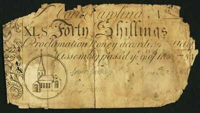 1754 Forty Shillings (40s) North Carolina Colonial Currency, March 9 Issue