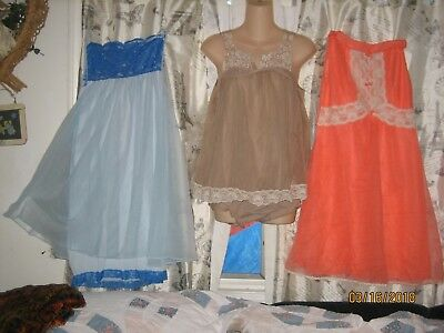3 Vtg Chiffon Babydoll Nighties Look!