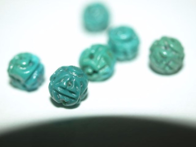 Vintage Carved Chinese Turquoise Round Bead Shou Design 5mm - 6mm
