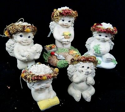Dreamsicles Figurines Lot of 5 DC087 10540 DC322 Cherub Baby Gardening Reading