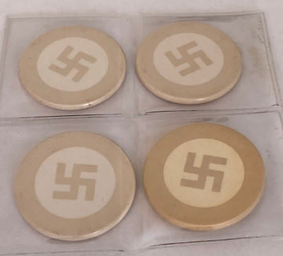 """Four Clay """"Good Luck"""" Poker Chips. These Are Pre-WWII Vintage NOT Nazi swastika"""