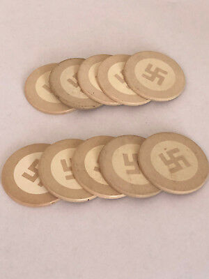 """Ten Clay """"Good Luck"""" Poker Chips. These Are Pre-WWII Vintage NOT Nazi swastika"""