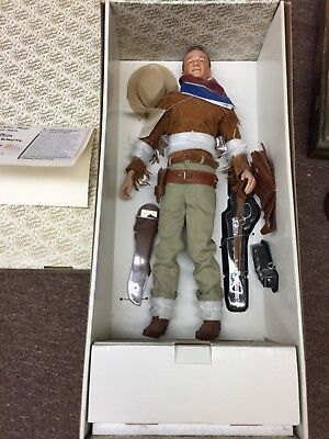 Franklin Mint John Wayne Porcelain Doll With Talking Stand