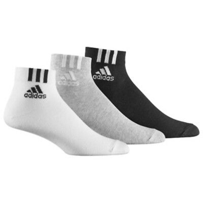 3 PACK Adidas Logo Ankle Sports Socks, Pairs - Men's Women's - Black White Grey